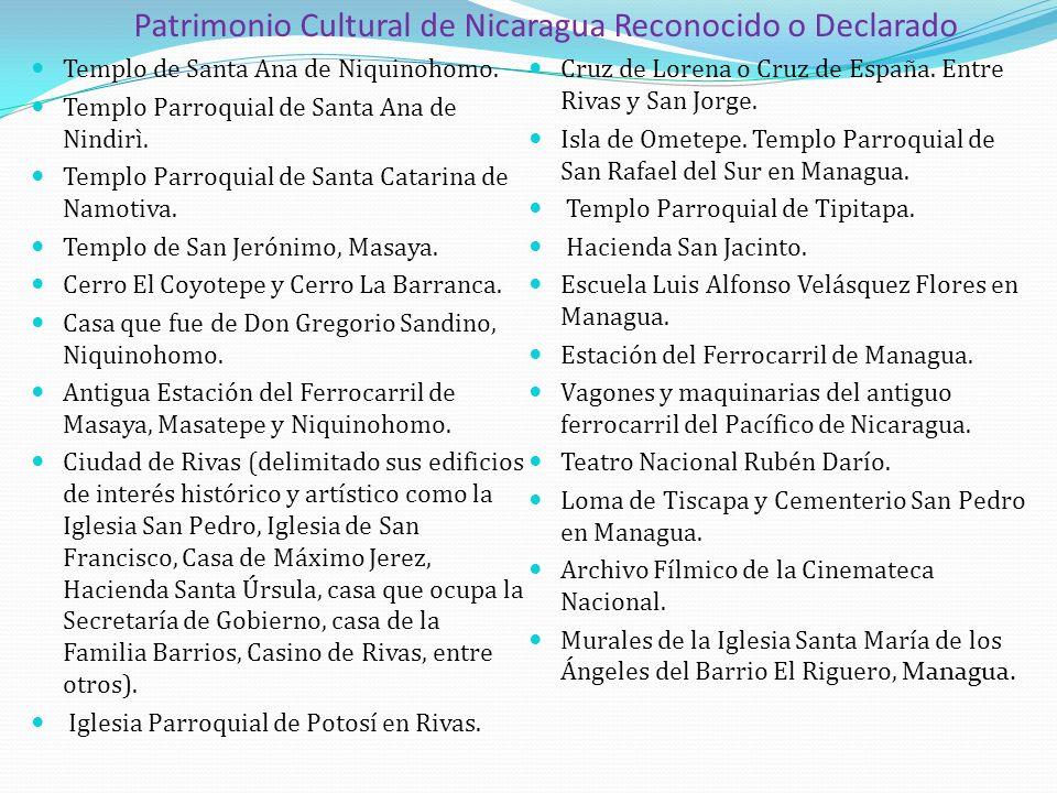 Patrimonio Cultural de Nicaragua Reconocido o Declarado Templo de Santa Ana de Niquinohomo. Templo Parroquial de Santa Ana de Nindirì. Templo Parroqui