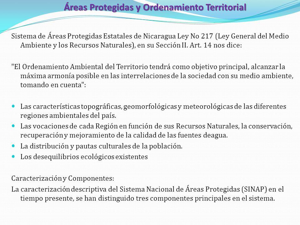 Áreas Protegidas y Ordenamiento Territorial Sistema de Áreas Protegidas Estatales de Nicaragua Ley No 217 (Ley General del Medio Ambiente y los Recurs