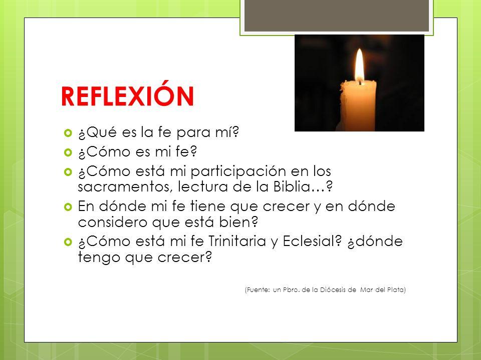 REFLEXIÓN ¿Qué es la fe para mí? ¿Cómo es mi fe? ¿Cómo está mi participación en los sacramentos, lectura de la Biblia…? En dónde mi fe tiene que crece