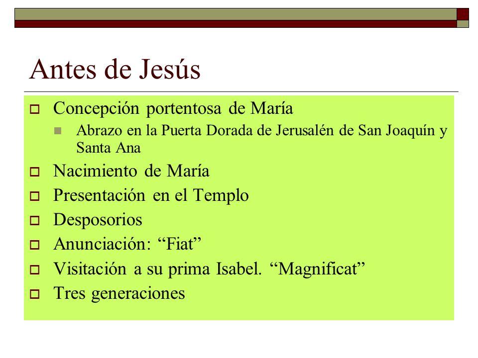 Antes de Jesús Concepción portentosa de María Abrazo en la Puerta Dorada de Jerusalén de San Joaquín y Santa Ana Nacimiento de María Presentación en e
