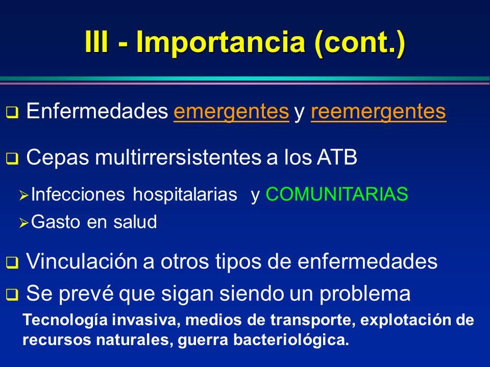 III - Importancia (cont.) Se prevé que sigan siendo un problema Enfermedades emergentes y reemergentesemergentesreemergentes Infecciones hospitalarias