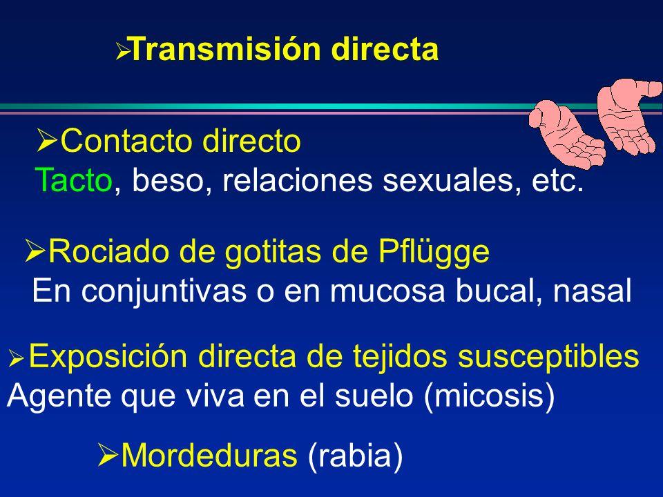 Exposición directa de tejidos susceptibles Agente que viva en el suelo (micosis) Transmisión directa Contacto directo Tacto, beso, relaciones sexuales