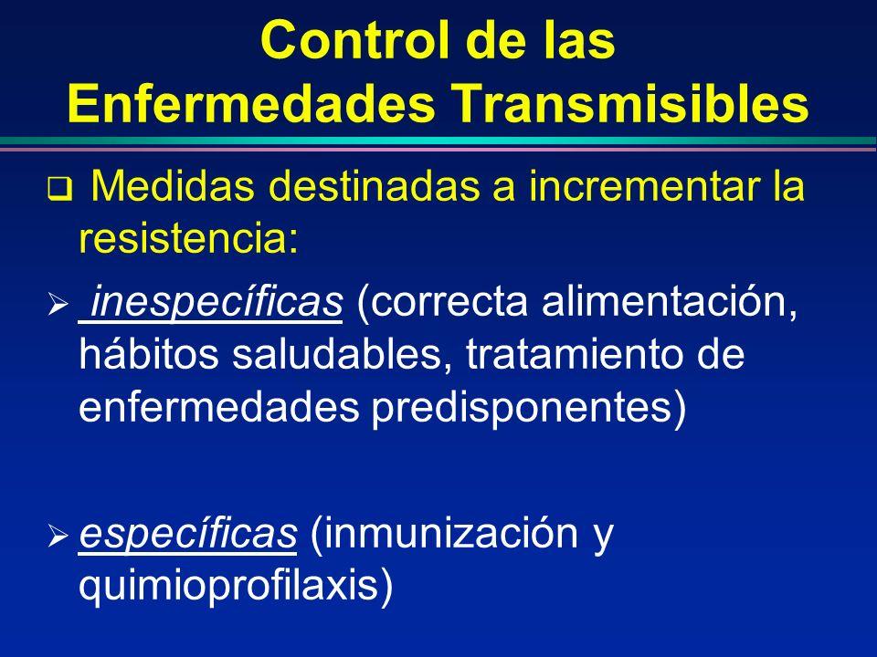 Control de las Enfermedades Transmisibles Medidas destinadas a incrementar la resistencia: inespecíficas (correcta alimentación, hábitos saludables, t