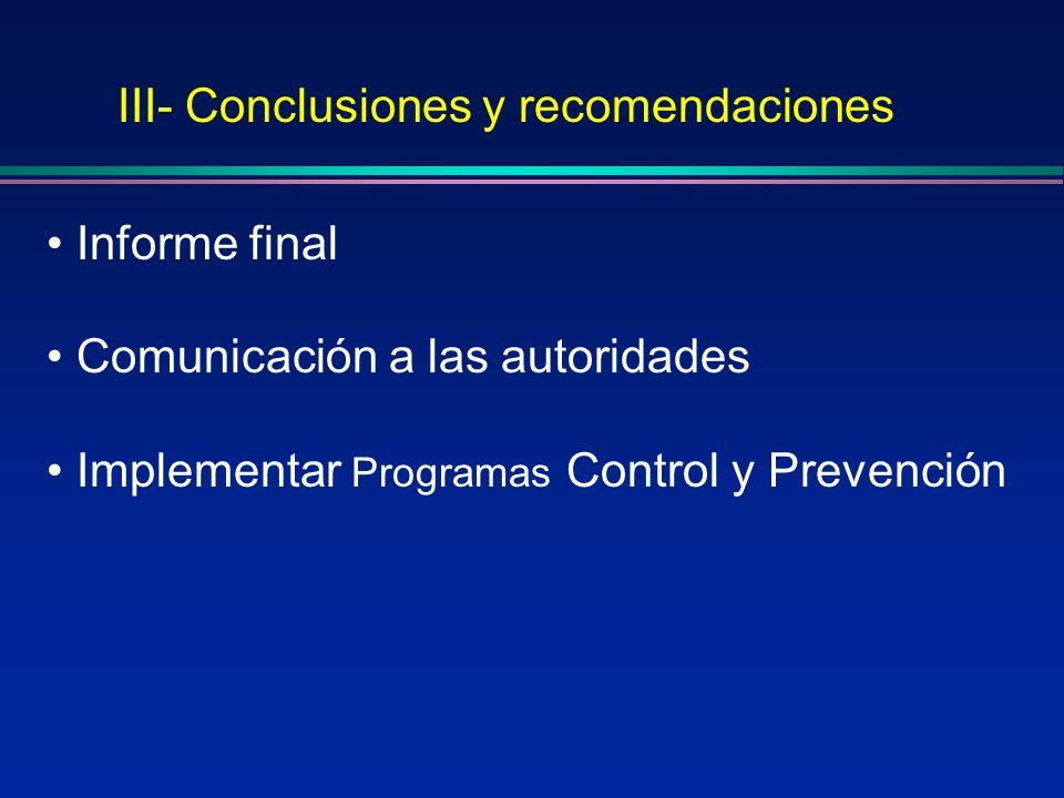 III- Conclusiones y recomendaciones Informe final Comunicación a las autoridades Implementar Programas Control y Prevención
