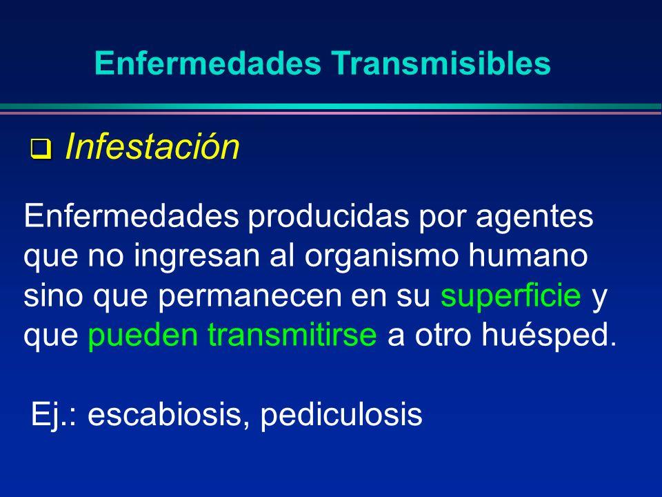 Enfermedad infecto - contagiosa Enfermedad infecto - contagiosa Aquellas infecciones que se transmiten por contacto directo, de persona a persona Enfermedades Transmisibles Deja afuera otras vías de transmisión Tétanos: no es contagiosa, pero sí transmisible por vía indirecta