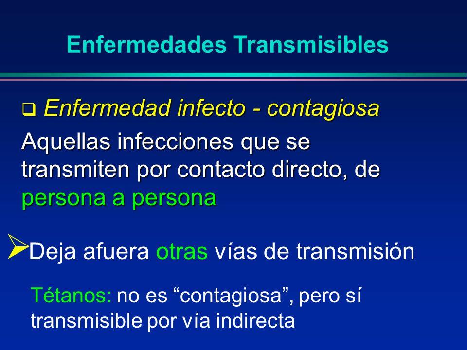 Colonización: Presencia de un agente en una superficie del huésped pero que no produce respuesta tisular o inmunitaria Enfermedades Transmisibles Infección: Infección: Invasión y/o multiplicación de un agente en un huésped Ej.