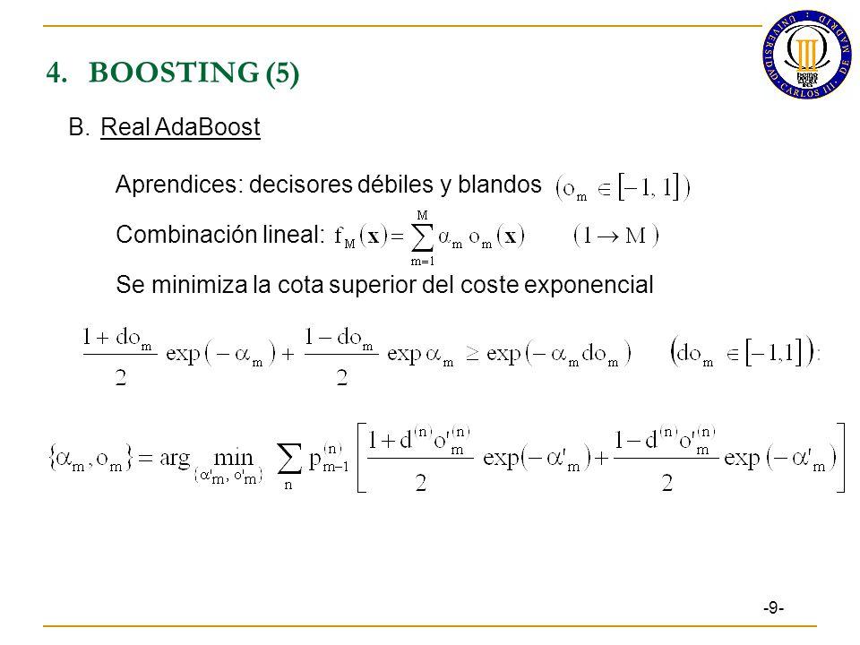 4.BOOSTING (5) -9- B.Real AdaBoost Aprendices: decisores débiles y blandos Combinación lineal: Se minimiza la cota superior del coste exponencial