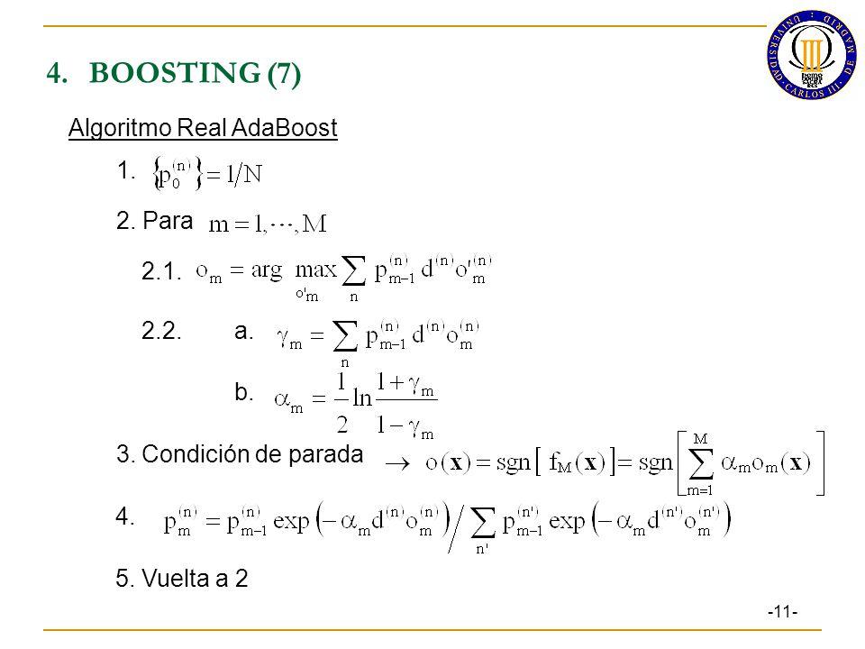 4.BOOSTING (7) -11- Algoritmo Real AdaBoost 1.2. Para 2.1.