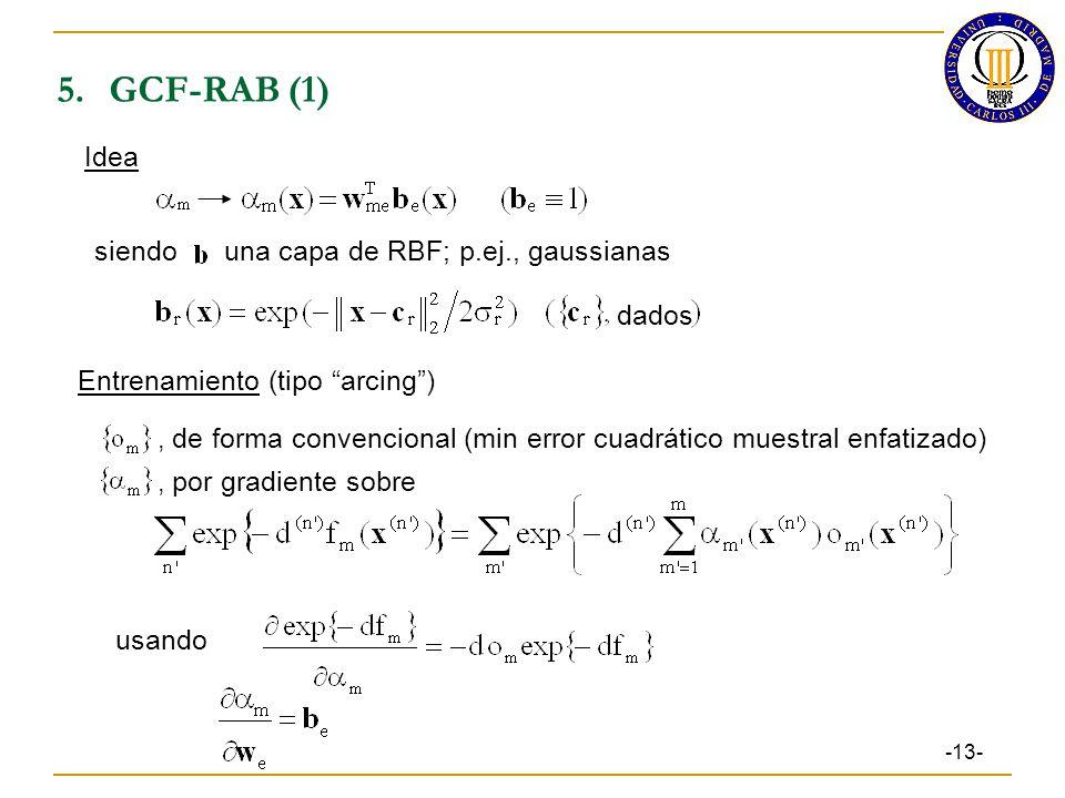 5.GCF-RAB (1) -13- Idea siendo una capa de RBF; p.ej., gaussianas Entrenamiento (tipo arcing), de forma convencional (min error cuadrático muestral enfatizado), por gradiente sobre usando dados