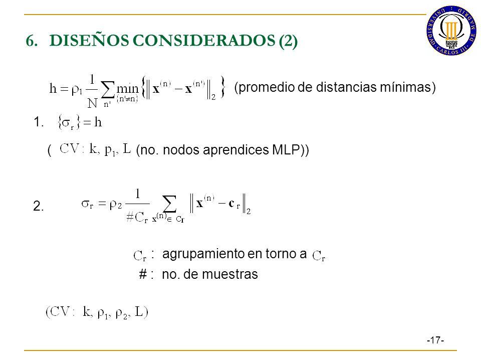 6.DISEÑOS CONSIDERADOS (2) : agrupamiento en torno a # : no.