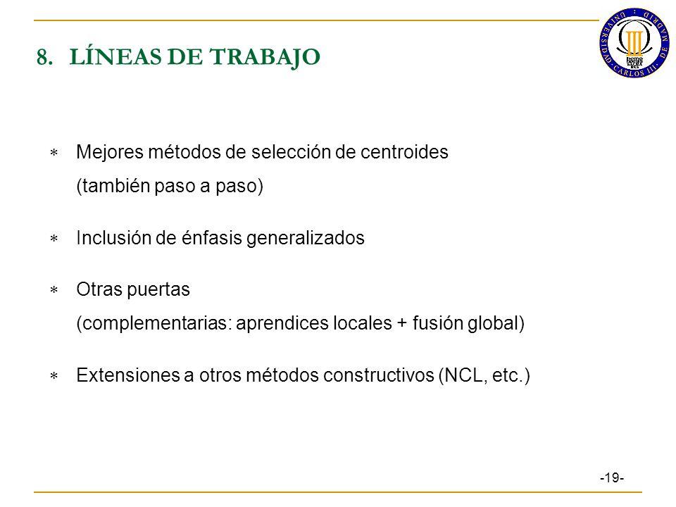 8.LÍNEAS DE TRABAJO -19- Mejores métodos de selección de centroides (también paso a paso) Inclusión de énfasis generalizados Otras puertas (complementarias: aprendices locales + fusión global) Extensiones a otros métodos constructivos (NCL, etc.)