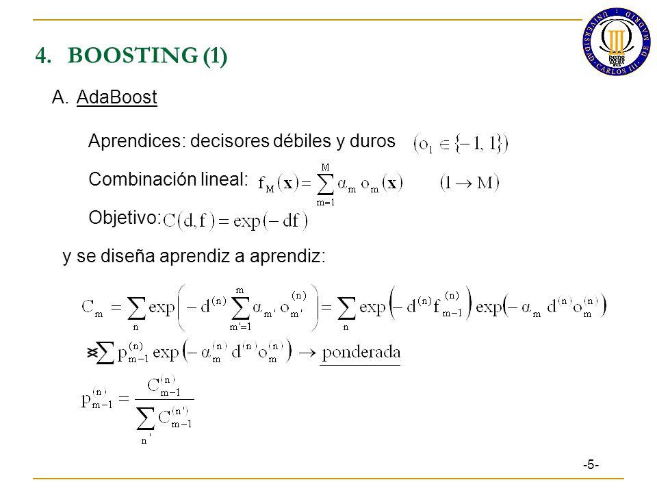 4.BOOSTING (1) -5- A.AdaBoost Aprendices: decisores débiles y duros Combinación lineal: Objetivo: y se diseña aprendiz a aprendiz: