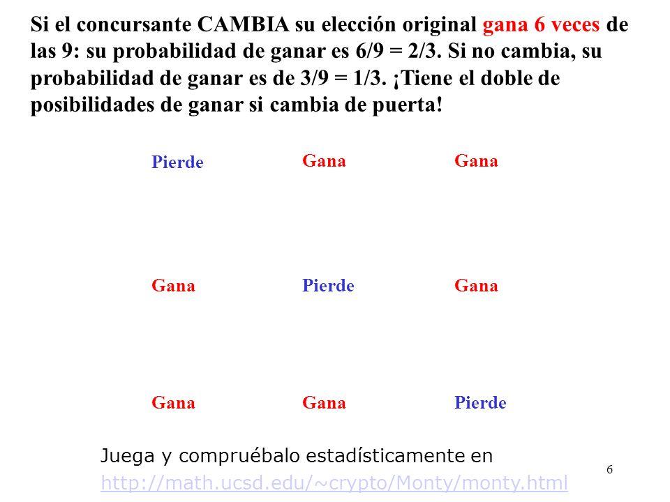 5 B C A A C CA B B C A B C A B C A Si el concursante CAMBIA su elección original PierdeGana Pierde Gana