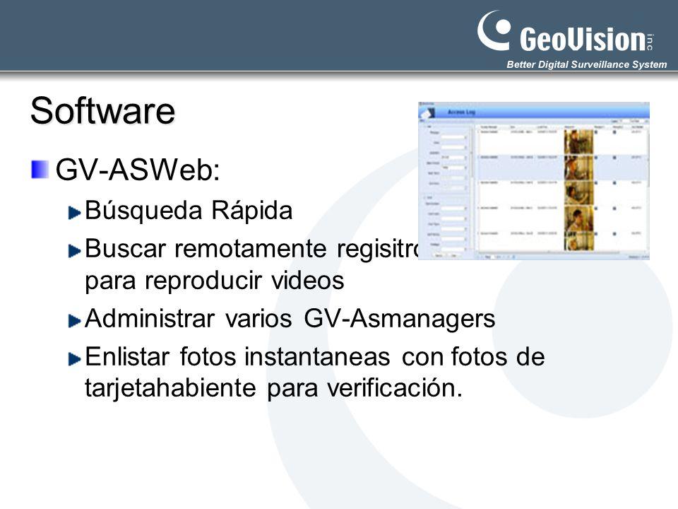 Software GV-ASWeb: Búsqueda Rápida Buscar remotamente regisitro para reproducir videos Administrar varios GV-Asmanagers Enlistar fotos instantaneas co