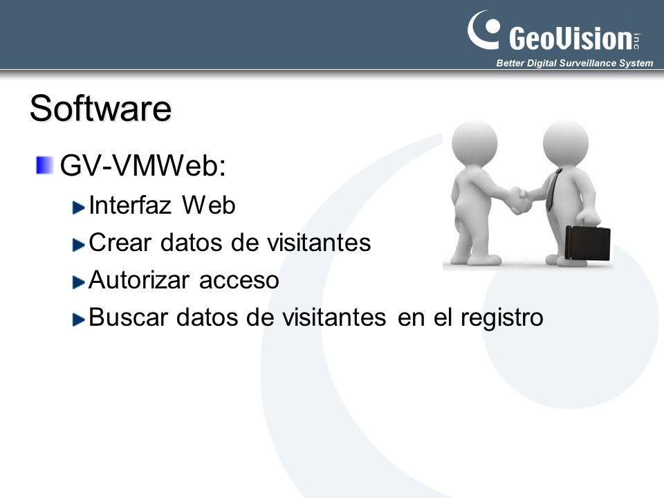 Software GV-VMWeb: Interfaz Web Crear datos de visitantes Autorizar acceso Buscar datos de visitantes en el registro
