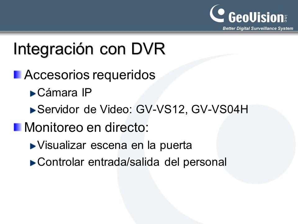 Integración con DVR Accesorios requeridos Cámara IP Servidor de Video: GV-VS12, GV-VS04H Monitoreo en directo: Visualizar escena en la puerta Controla