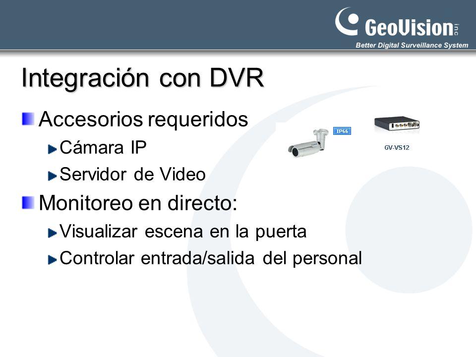 Integración con DVR Accesorios requeridos Cámara IP Servidor de Video Monitoreo en directo: Visualizar escena en la puerta Controlar entrada/salida de