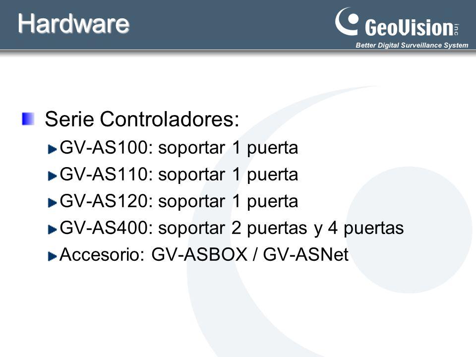 Hardware Serie Controladores: GV-AS100: soportar 1 puerta GV-AS110: soportar 1 puerta GV-AS120: soportar 1 puerta GV-AS400: soportar 2 puertas y 4 pue