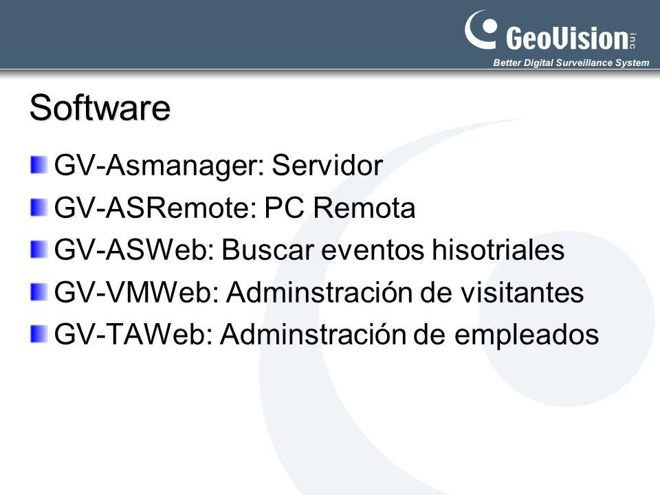 Software GV-Asmanager: Servidor GV-ASRemote: PC Remota GV-ASWeb: Buscar eventos hisotriales GV-VMWeb: Adminstración de visitantes GV-TAWeb: Adminstrac