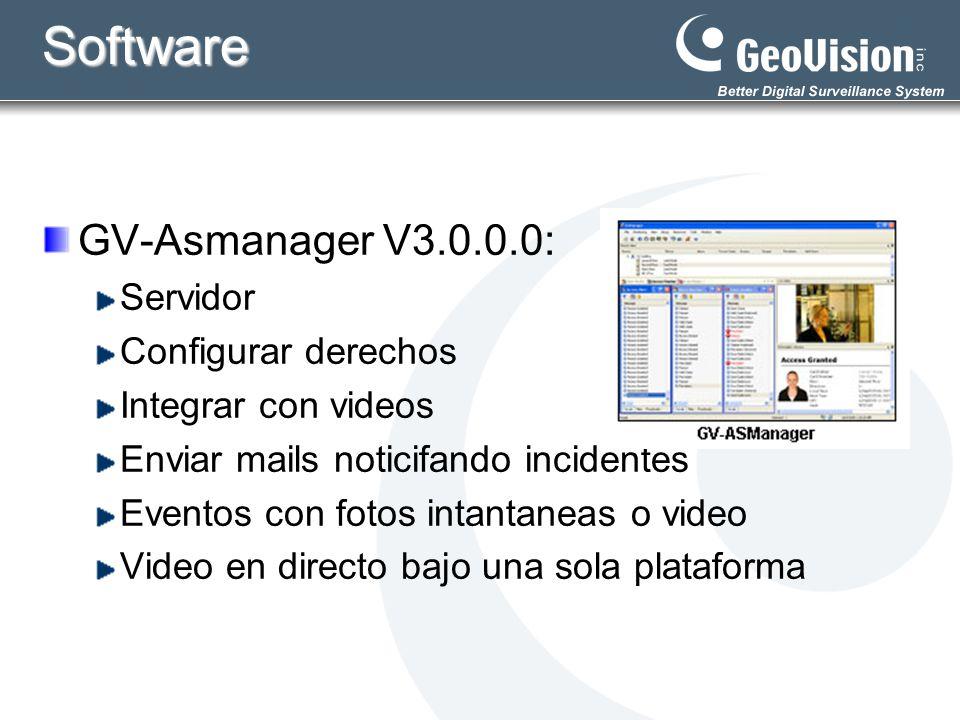 Software GV-ASRemote: PC Remota Monitoreo y Control básico Administrar varios GV-ASmanagers Monitorear,visualizar y reproductir remotamente Control básico remoto de puertas y alarmas