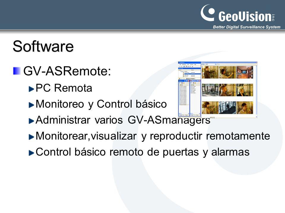 Software GV-ASRemote: PC Remota Monitoreo y Control básico Administrar varios GV-ASmanagers Monitorear,visualizar y reproductir remotamente Control bá