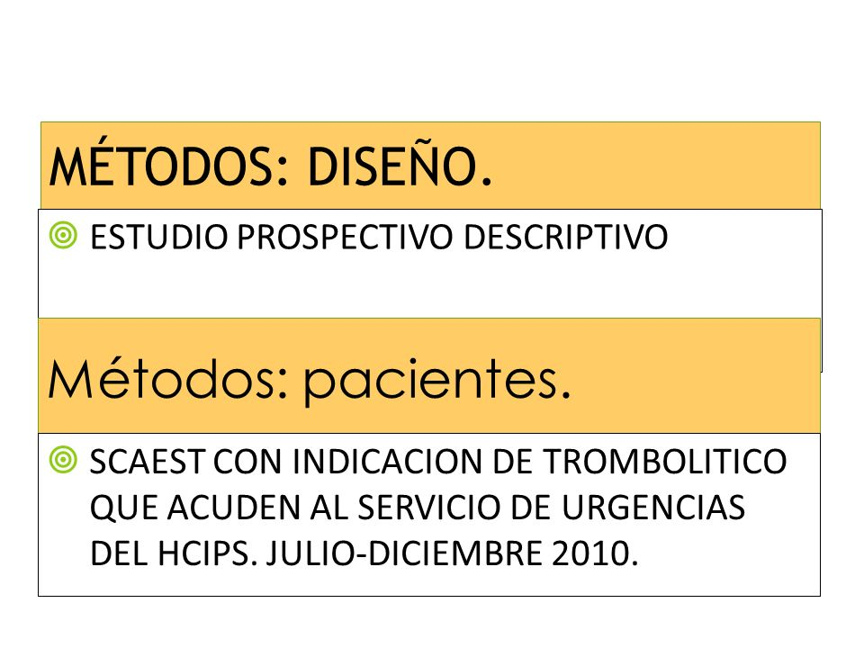 MÉTODOS: DISEÑO.ESTUDIO PROSPECTIVO DESCRIPTIVO Métodos: pacientes.