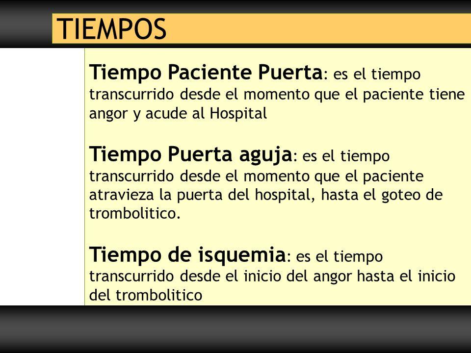 Tiempo Paciente Puerta : es el tiempo transcurrido desde el momento que el paciente tiene angor y acude al Hospital Tiempo Puerta aguja : es el tiempo transcurrido desde el momento que el paciente atravieza la puerta del hospital, hasta el goteo de trombolitico.