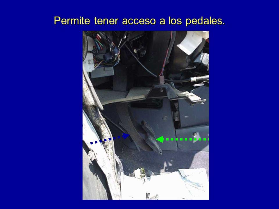 Permite tener acceso a los pedales.