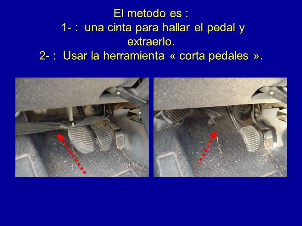 El metodo es : 1- : una cinta para hallar el pedal y extraerlo. 2- : Usar la herramienta « corta pedales » El metodo es : 1- : una cinta para hallar e