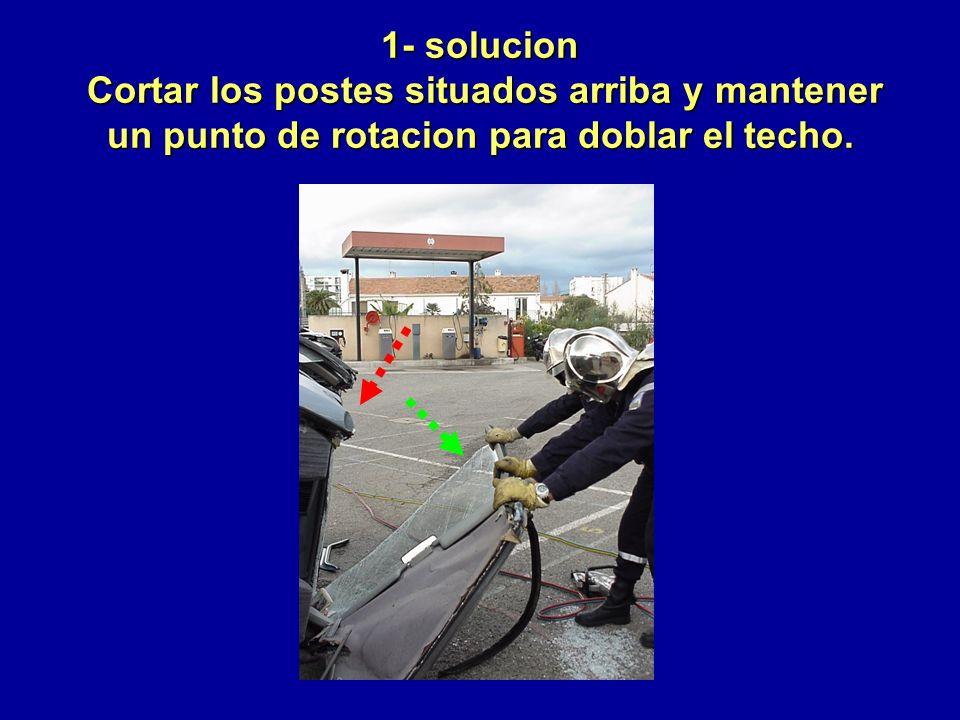 1- solucion Cortar los postes situados arriba y mantener un punto de rotacion para doblar el techo.