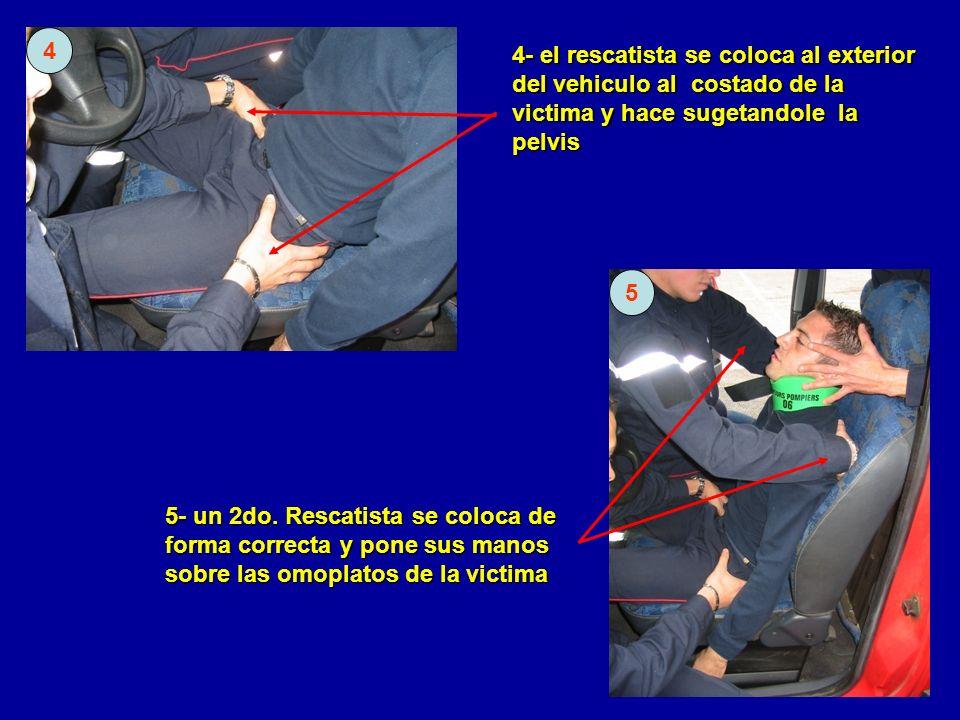 4- el rescatista se coloca al exterior del vehiculo al costado de la victima y hace sugetandole la pelvis 5- un 2do. Rescatista se coloca de forma cor