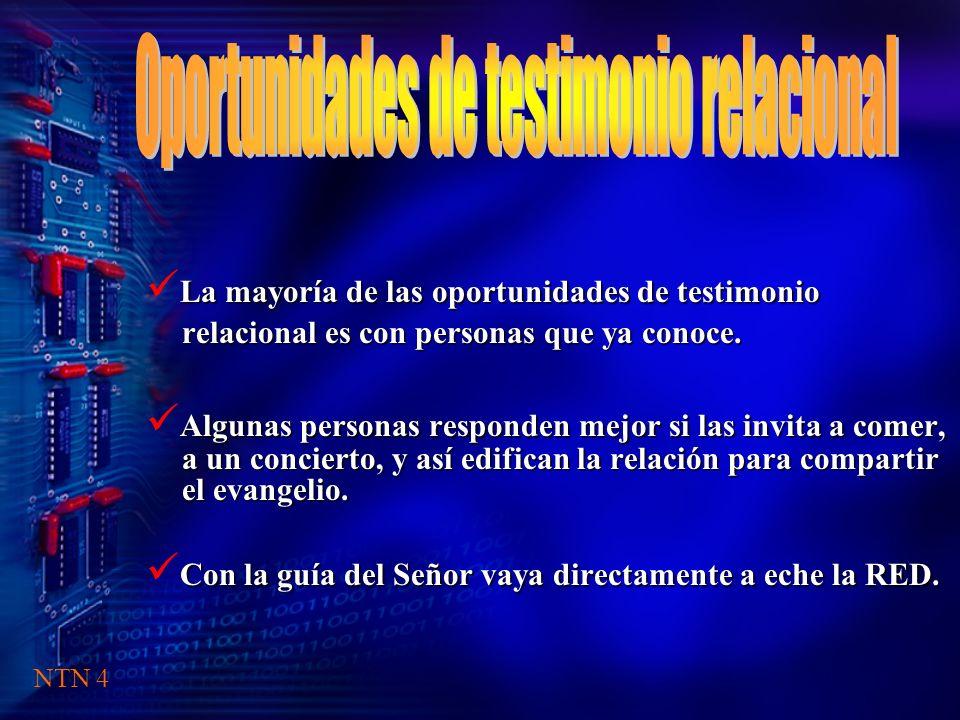 La mayoría de las oportunidades de testimonio relacional es con personas que ya conoce.