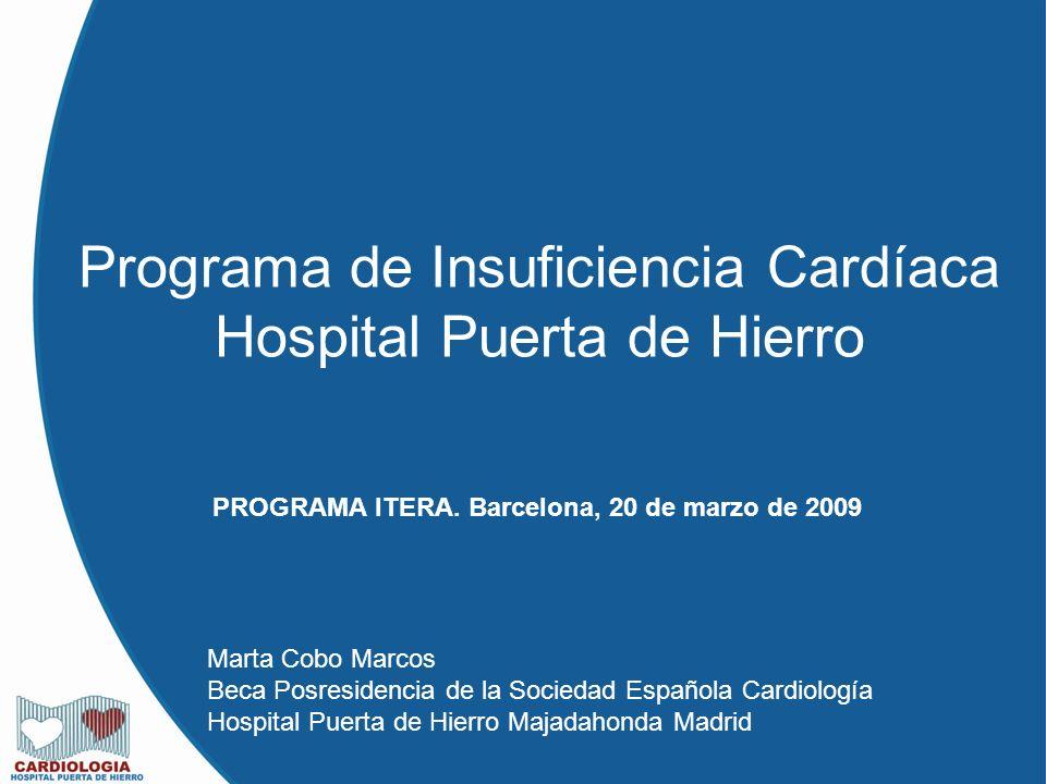 Programa de Insuficiencia Cardíaca Hospital Puerta de Hierro PROGRAMA ITERA. Barcelona, 20 de marzo de 2009 Marta Cobo Marcos Beca Posresidencia de la