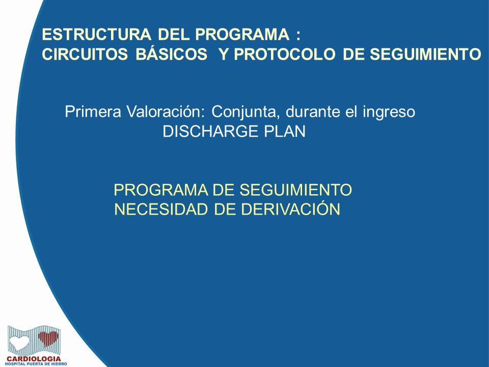 ESTRUCTURA DEL PROGRAMA : CIRCUITOS BÁSICOS Y PROTOCOLO DE SEGUIMIENTO Primera Valoración: Conjunta, durante el ingreso DISCHARGE PLAN PROGRAMA DE SEG