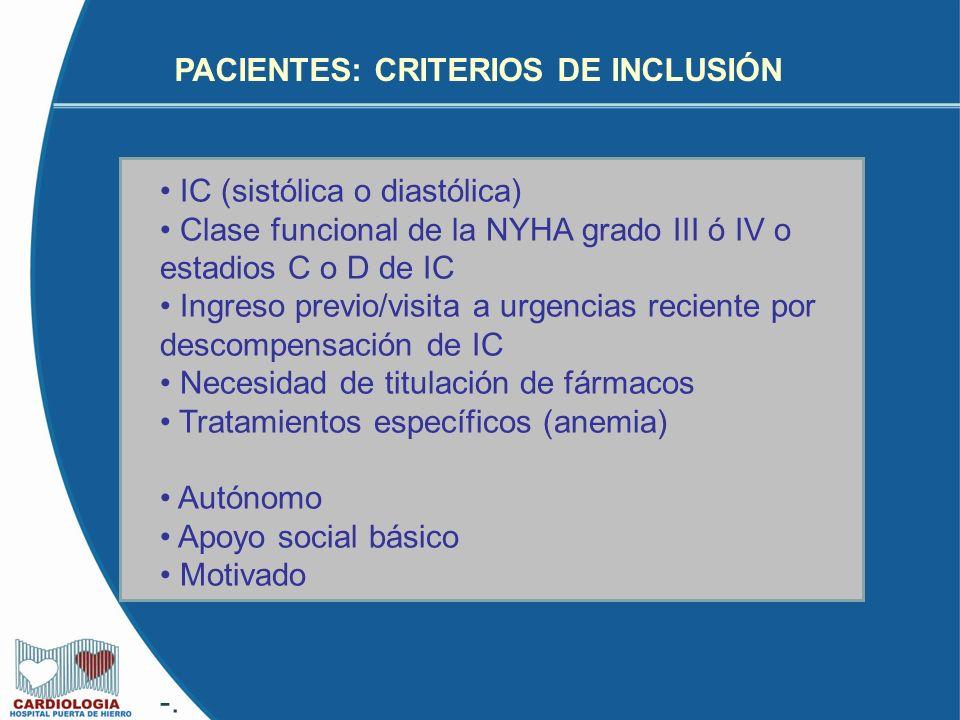 PACIENTES: CRITERIOS DE INCLUSIÓN IC (sistólica o diastólica) Clase funcional de la NYHA grado III ó IV o estadios C o D de IC Ingreso previo/visita a