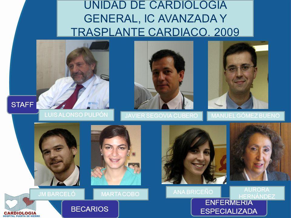 UNIDAD DE CARDIOLOGÍA GENERAL, IC AVANZADA Y TRASPLANTE CARDIACO.