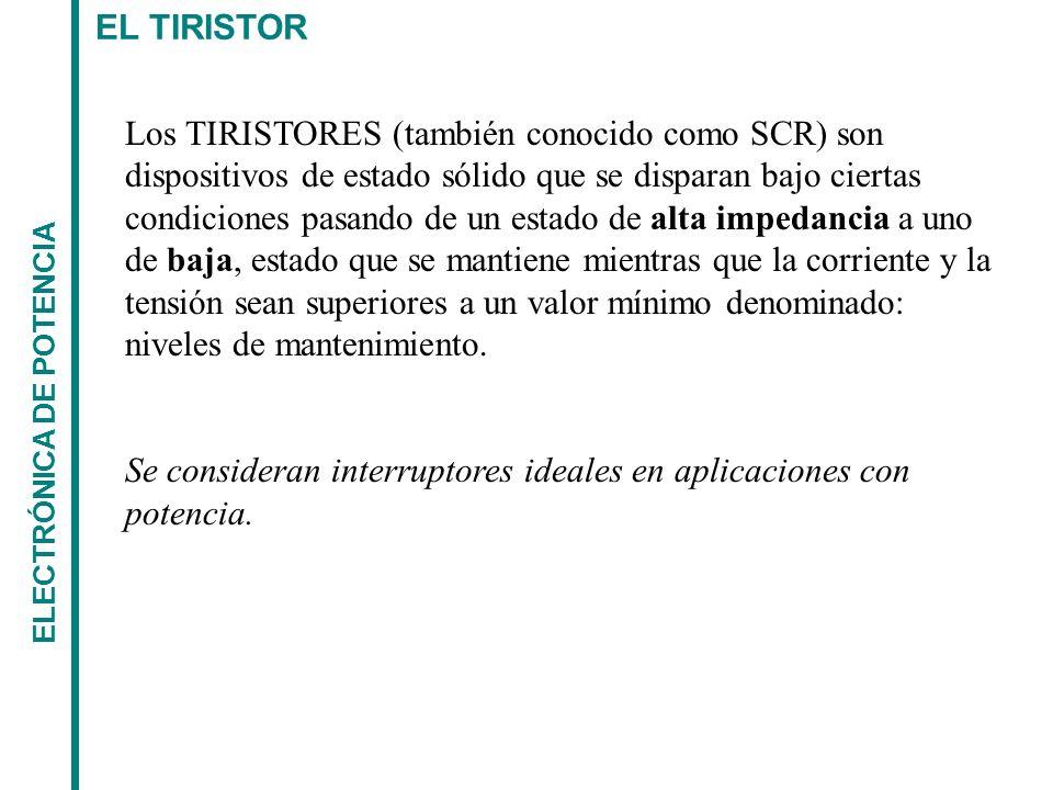 EL TIRISTOR ELECTRÓNICA DE POTENCIA CARACTERÍSTICAS - Dispositivo de 4 capas p-n alternadas - Tiene estados estables de conducción y bloqueo - Capaz de soportar las potencias más elevadas.