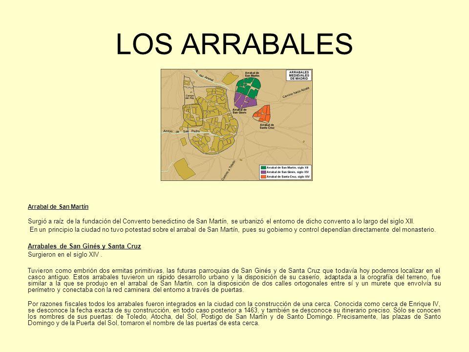 LOS ARRABALES Arrabal de San Martín Surgió a raíz de la fundación del Convento benedictino de San Martín, se urbanizó el entorno de dicho convento a lo largo del siglo XII.