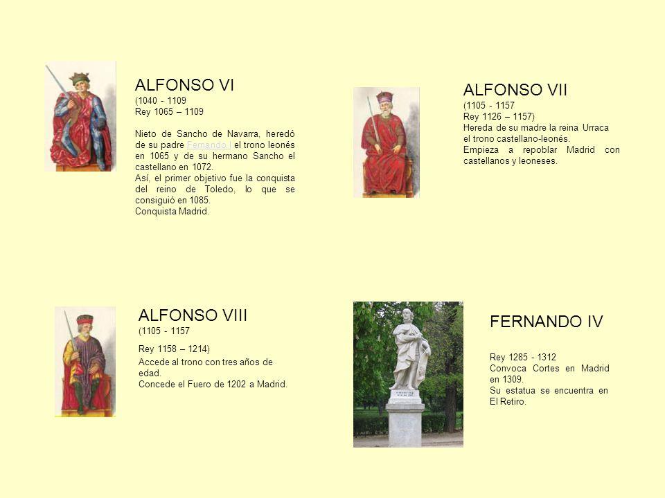 ALFONSO VI (1040 - 1109 Rey 1065 – 1109 Nieto de Sancho de Navarra, heredó de su padre Fernando I el trono leonés en 1065 y de su hermano Sancho el castellano en 1072.Fernando I Así, el primer objetivo fue la conquista del reino de Toledo, lo que se consiguió en 1085.