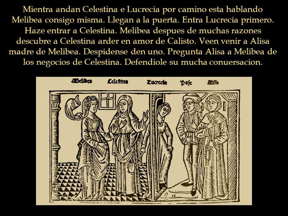 Mientra andan Celestina e Lucrecia por camino esta hablando Melibea consigo misma. Llegan a la puerta. Entra Lucrecia primero. Haze entrar a Celestina