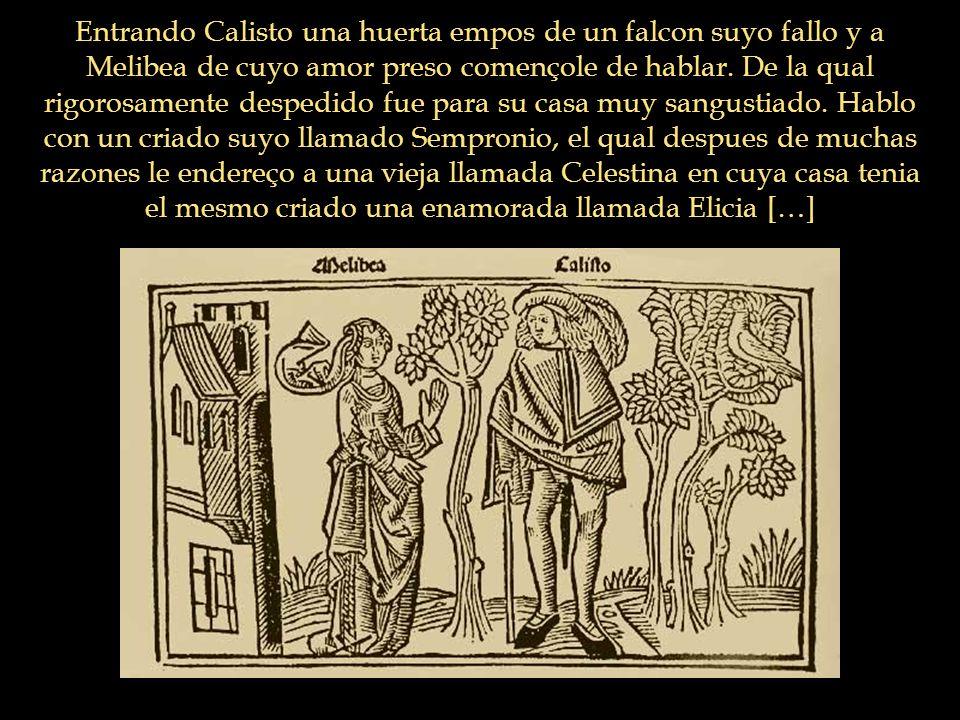Entrando Calisto una huerta empos de un falcon suyo fallo y a Melibea de cuyo amor preso començole de hablar.