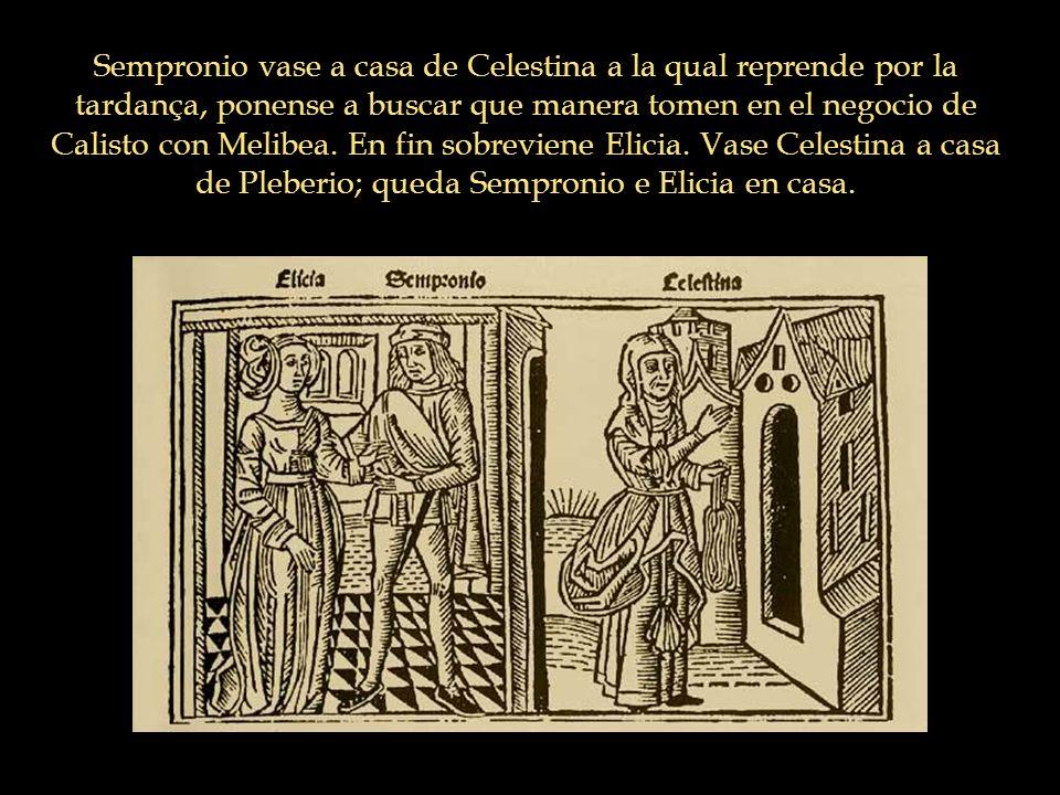 Sempronio vase a casa de Celestina a la qual reprende por la tardança, ponense a buscar que manera tomen en el negocio de Calisto con Melibea. En fin