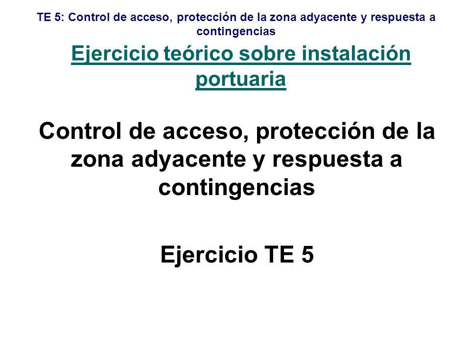 TE 5: Control de acceso, protección de la zona adyacente y respuesta a contingencias Alcance Cronograma Propósito Objetivos Resultados deseados Información logística Escenario Puesta en común Para supervisores únicamente Lista Maestra de Sucesos