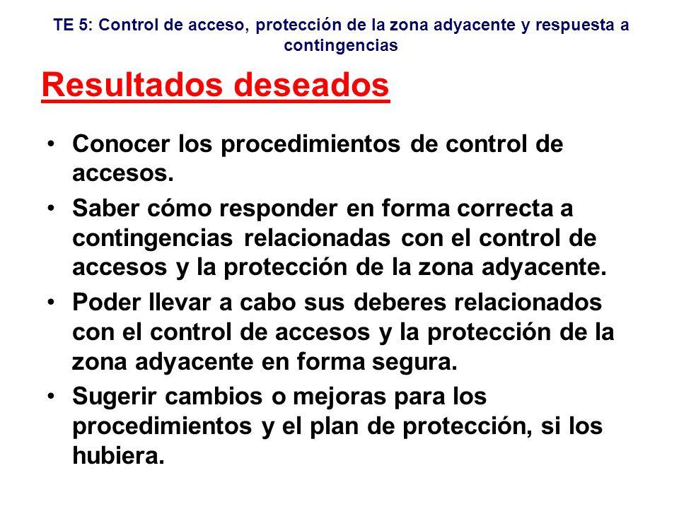 TE 5: Control de acceso, protección de la zona adyacente y respuesta a contingencias Director del Ejercicio Sr.