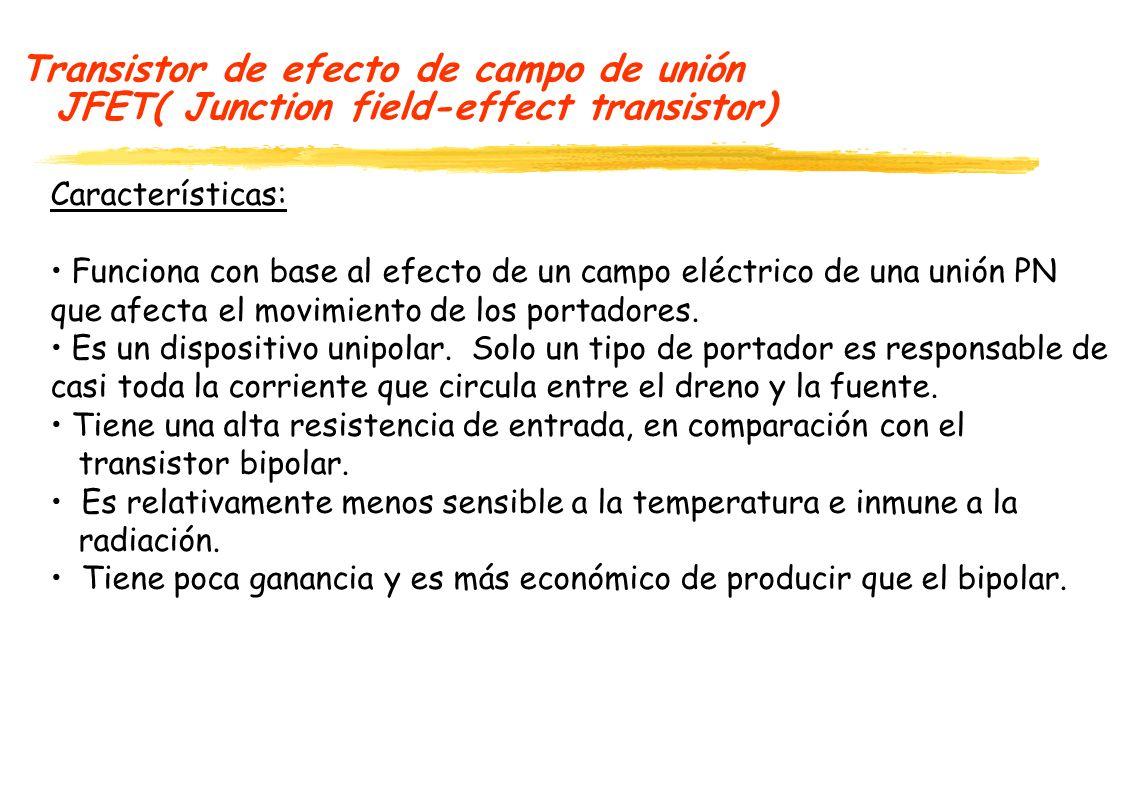 Transistor de efecto de campo de unión JFET( Junction field-effect transistor) Existen varios transistores basados en el efecto de campo: JFET (Juction field-effect transistor).
