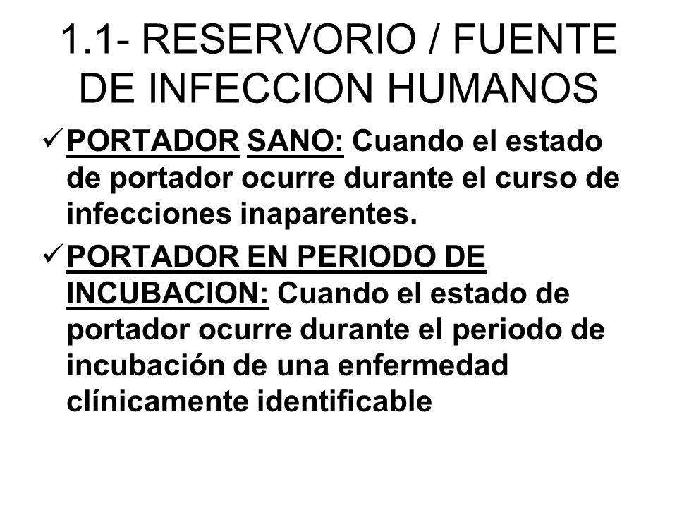 PORTADOR SANO: Cuando el estado de portador ocurre durante el curso de infecciones inaparentes. PORTADOR EN PERIODO DE INCUBACION: Cuando el estado de