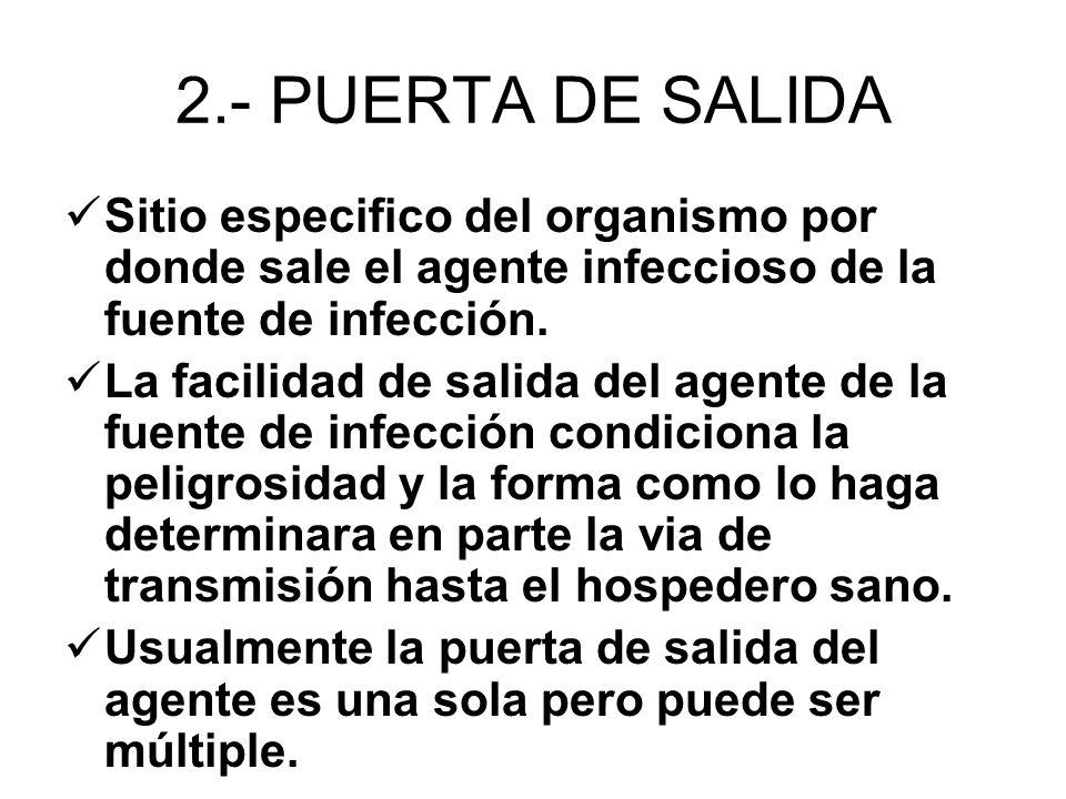 2.- PUERTA DE SALIDA Sitio especifico del organismo por donde sale el agente infeccioso de la fuente de infección. La facilidad de salida del agente d
