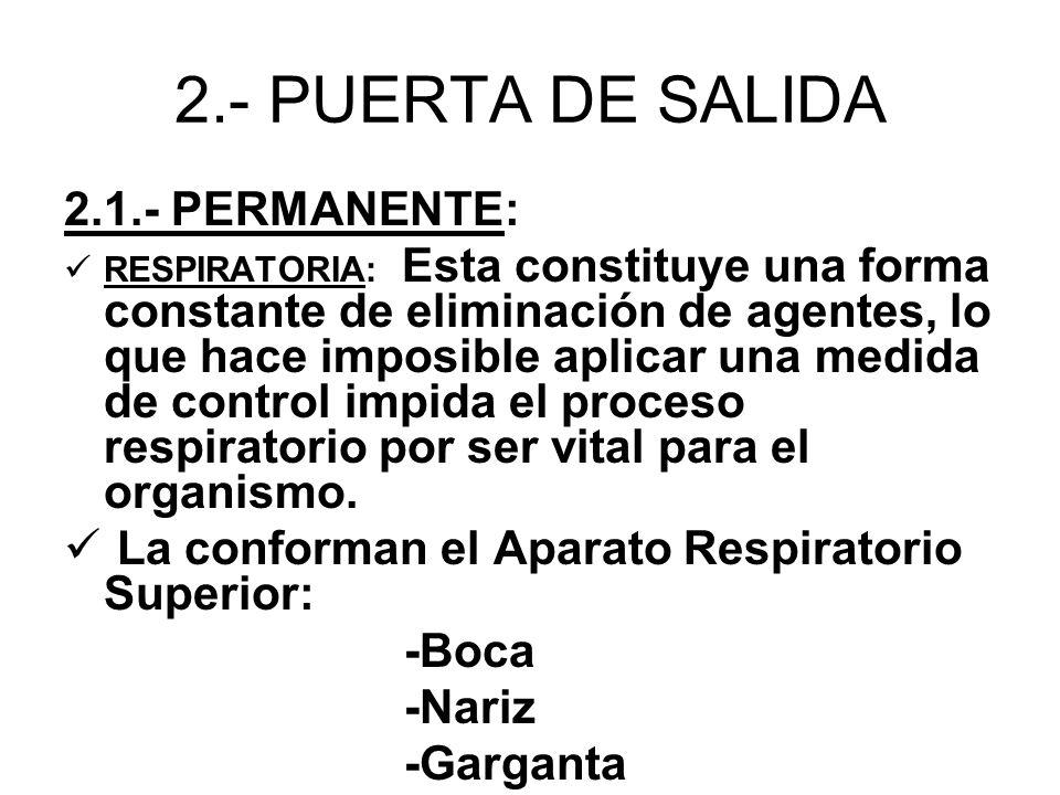 2.- PUERTA DE SALIDA 2.1.- PERMANENTE: RESPIRATORIA: Esta constituye una forma constante de eliminación de agentes, lo que hace imposible aplicar una