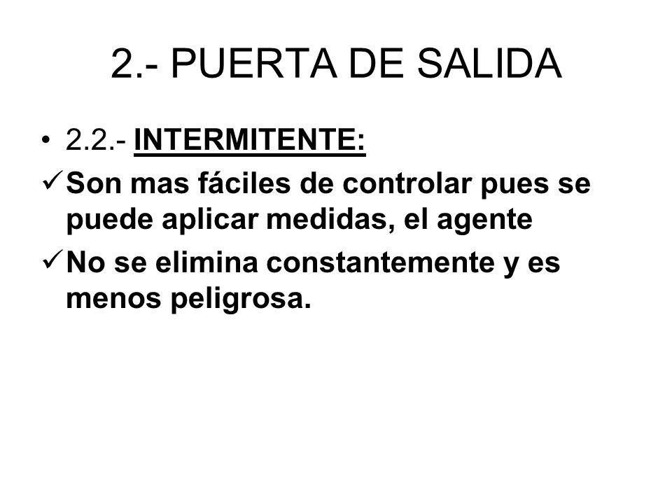 2.- PUERTA DE SALIDA 2.2.- INTERMITENTE: Son mas fáciles de controlar pues se puede aplicar medidas, el agente No se elimina constantemente y es menos