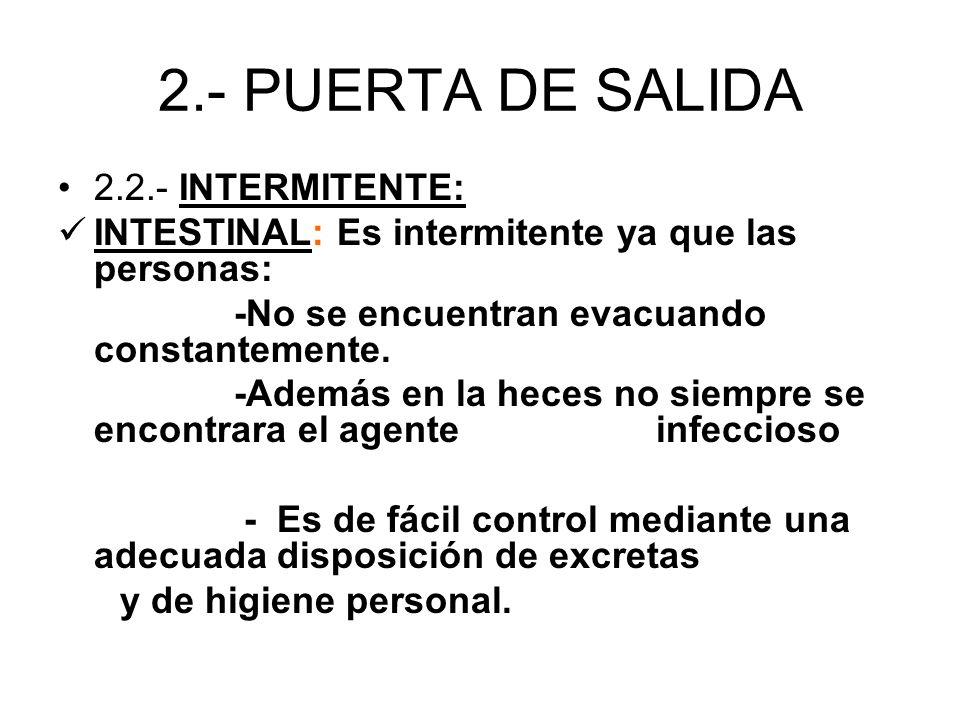 2.- PUERTA DE SALIDA 2.2.- INTERMITENTE: INTESTINAL: Es intermitente ya que las personas: -No se encuentran evacuando constantemente. -Además en la he
